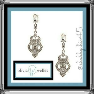 Olivia Welles  Jewelry - Joanna Deco Glass Crystal Cutout Drop Earrings