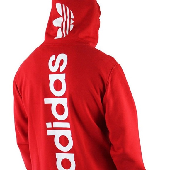 detailing official sale red and black adidas hoodie