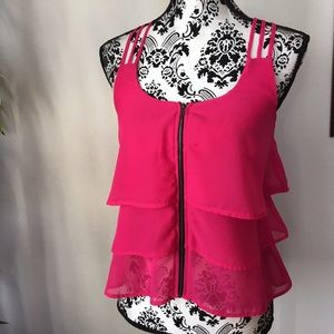 Material Girl Tops - Hot pink tiered spaghetti strap top