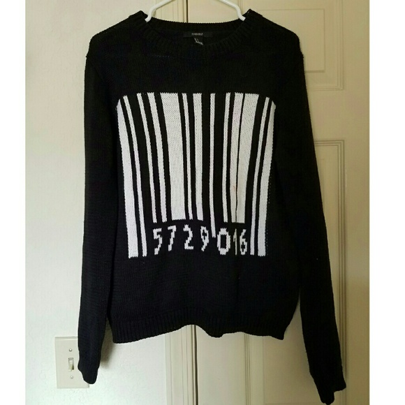 Urban Outfitters Sweaters - Barcode Sweater Serial Number Black Goth Punk L