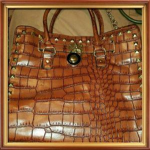 Cognac Croc Embossed Large Handbag