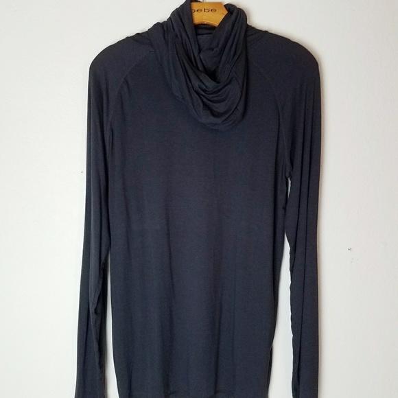 Express Sweaters - Grey Cowl Turtleneck Longsleeve Shirt w Thumbholes