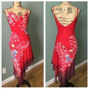 Cache Dresses & Skirts - Cache red ombré asymmetrical dress! Size 2!