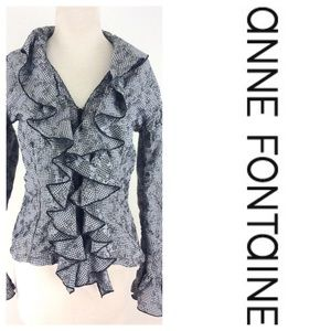 ANNE FONTAINE ruffle top zip gray Blouse  2 medium