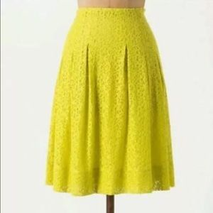 Anthropologie HD in Paris Yellow Lace Skirt