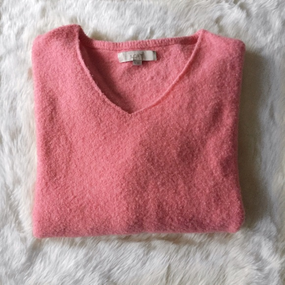 78% off LOFT Sweaters - LOFT Pink Fuzzy V-Neck Sweater XL from ...