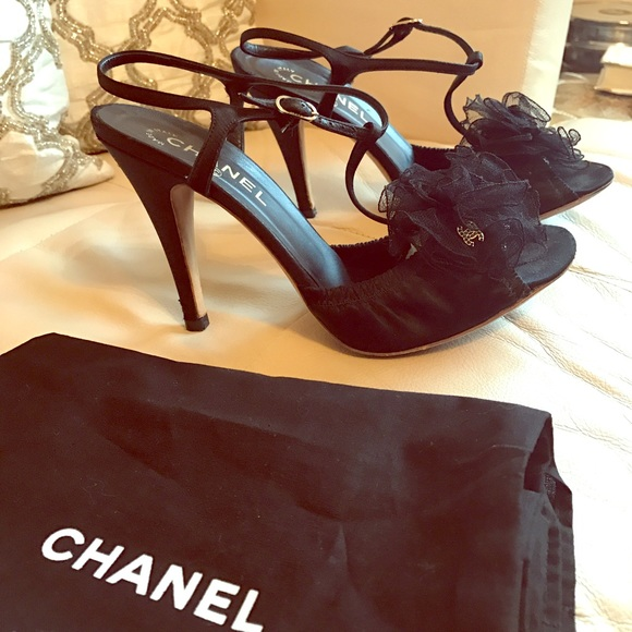 6f1ce6aa0049d CHANEL Shoes | Black Satin Lace Flower Strappy Heels | Poshmark