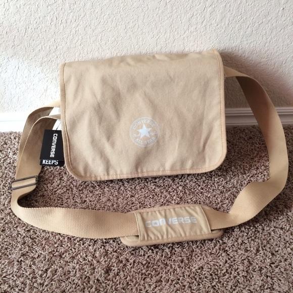 Converse tan canvas messenger bag NWT 16d51a797d29d