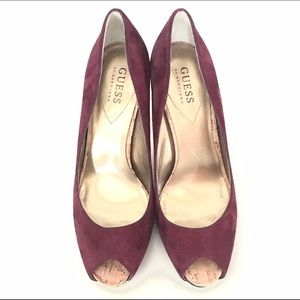 Guess by Marciano Shoes - Guess by Marciano Suede Peeptoe Heels