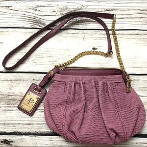 b. makowsky Handbags - B. MAKOWSKY Purple Embossed Snakeskin Chain Bag