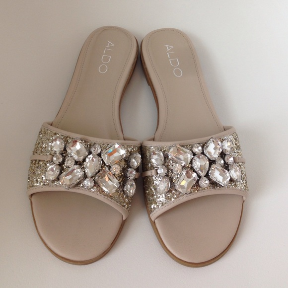 29bc19915fc Aldo Shoes - Aldo Embellished Glitter Slide Sandals