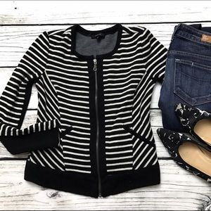 DREW Sweaters - DREW Black White Stripe Full Zip Sweater