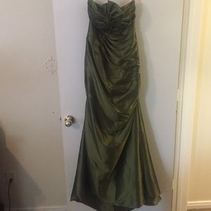 Olive green prom dress-strapless- Maggie Sorters