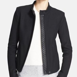 VINCE. Genuine leather quilted contrast jacket