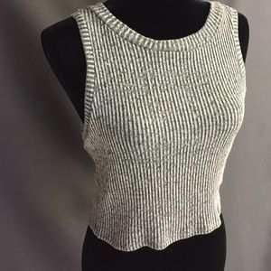 Tops - Boutique brand> Sweater ribbed gray crop top