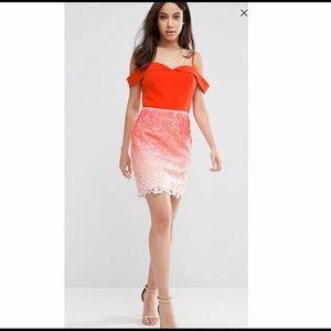Adelyn Rae Dresses & Skirts - Adelyn Rae Orange ombré lace off shoulder dress