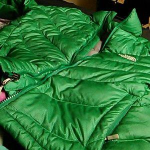Green north face bubble coat