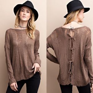 Mocha Lightweight Knit Open Back Tie Sweater