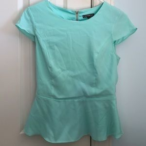 CLOSET CLEAROUT light blue silky peplum