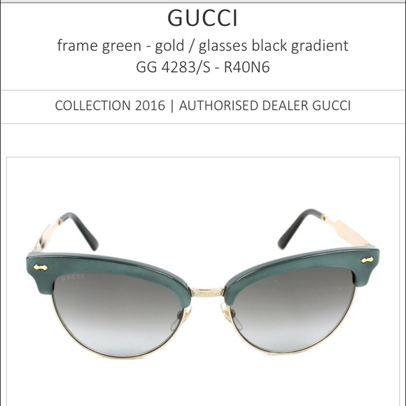 f162e71a21844 New GUCCI Green Gold Frame Cat Eye Sunglasses