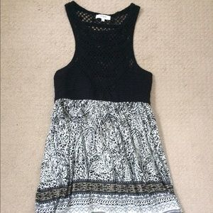 Crochet top black and white printed dress
