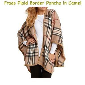 Fraas Jackets & Blazers - Fraas Plaid Border Poncho Camel