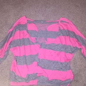 Delia's Half Sleeve Pink and Gray Top