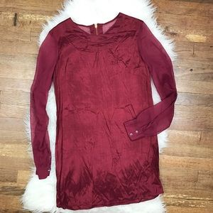 Obey Dresses & Skirts - Obey Maroon Sheer Dress