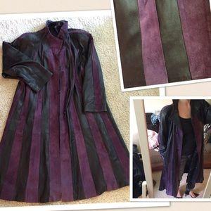 Vintage Jackets & Blazers - FLASH SALE Italian long purple leather coat 4 6
