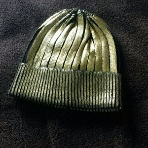 Gold and black knit beanie