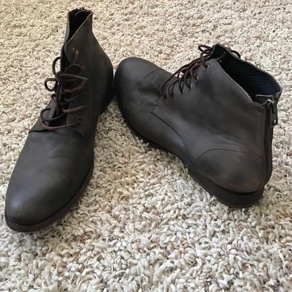 edb0c1a6fe9 All Saints men's brown back zip leather boots 12