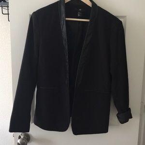 H&M Black Blazer with faux leather details