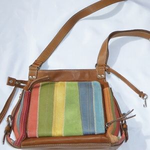 Fossil Multi-colored Leather and Suede Crossbody