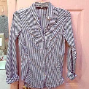 Zara blue striped button down shirt