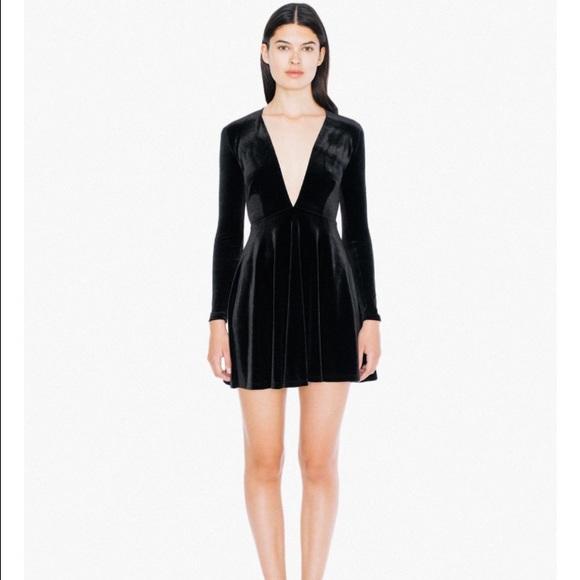 American Apparel Velvet Long Sleeve Skater Dress ff6c35a2d