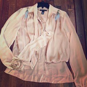 Kenneth Cole Tops - Kennith Cole blush peplum blouse sz S satin