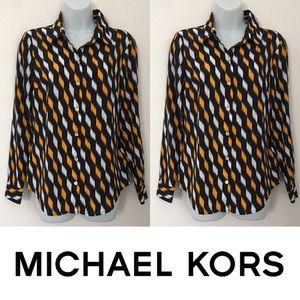   Michael Kors   Geometric Print Silky Blouse