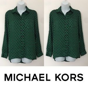   Michael Kors   Polka Dot Silky Blouse