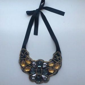 Ribbon statement collar necklace