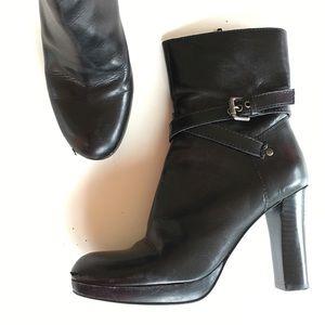 NINE WEST black leather platform ankle boots 6.5 7
