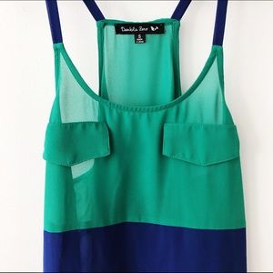 Blue & Green Color Block Sheer Tunic