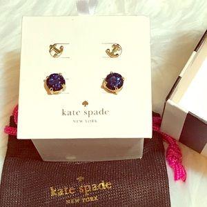 kate spade Jewelry - 🔴BOGO🔴Kate Spade ⚓️ & Navy Glitter Stud earrings