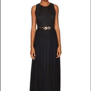 Kate Spade Belted Chiffon Maxi Dress Black