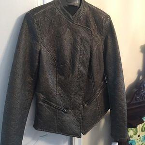 ABS by Allen Schwartz Dark Brown Faux Leather Coat