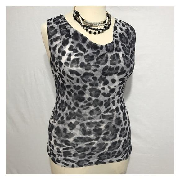 9b8b01b8c76 🔴NEW YORK   CO Animal Print Drape Neck Top Blouse.  M 58657c21713fdeb70901c337
