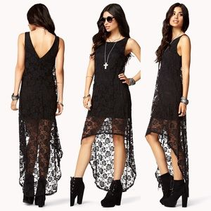 NWOT Forever21 open back lace maxi dress