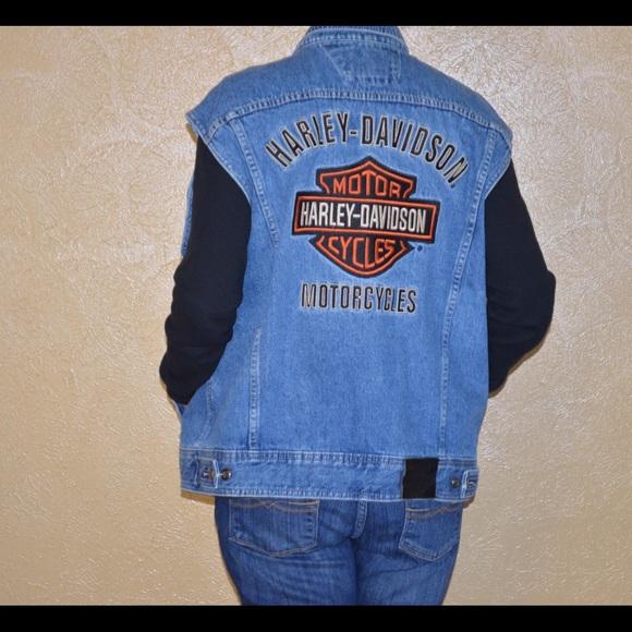 e888d6b93047 Harley Davidson bar and shield denim vest