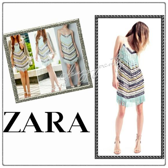724c37cd Zara Dresses | Hp Fringe Sequin Beaded Flapper Dress Small | Poshmark