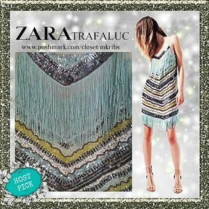 🎉 HP Zara sequin fringe Charleston dress