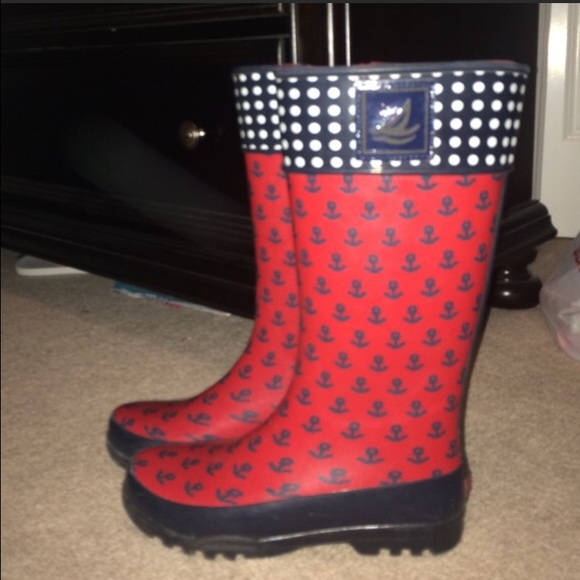 Red White And Blue Patterned Rain Boots